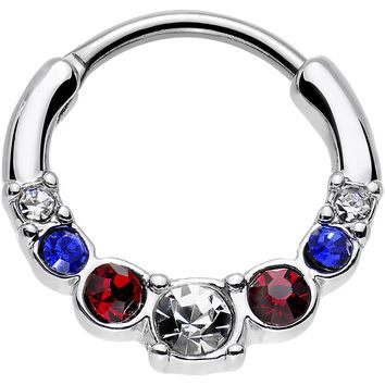 16 Gauge 9mm Red Clear Blue Gem All American Simple Septum Clicker