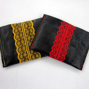 Black Leather and Lace Card Wallet, Black Leather, Leather Wallet, Black Wallet, Leather Card Holder, Wallet, Black, Card Wallet