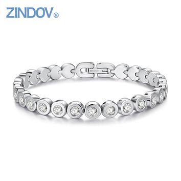 ZINDOV IP Rose Gold Color Overlay Cubic Zirconia Tennis Stainless Steel Bracelet Women Luxury Fashion Top Quality Brand Jewelry