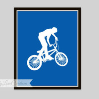 BMX Print, Bike Rider Wall Art,  Teen Room, Nursery Decor, Children's Room, Playroom Decor, Extreme Sports