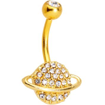 Clear Gem Gold Tone Planet Luxury Belly Ring