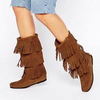 Minnetonka Brown Suede 3 Layer Fringe Boots