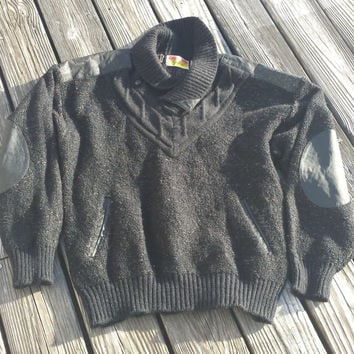 Vintage UGLY SWEATER - Men's Black Acrylic and Leather Sweater - Shawl Collar - SZ L