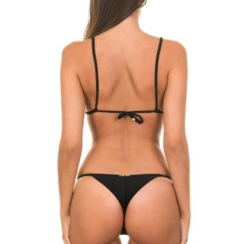 Lua Morena Black Thong Swimwear With Golden Jewels - Mini Textura