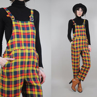 vtg 70's PLAID tartan OVERALLS Open back oversized bold cotton Dungarees jumpsuit