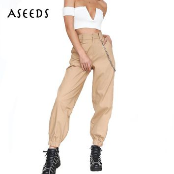 2018 Spring Army military cargo pants women black high waist pants Winter Casual cotton office long Trousers female Sweatpants