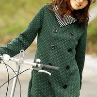 (Free Shipping) 9030 New Arrival Korean Rayli Long Style Double-breasted Dot Printed Coat