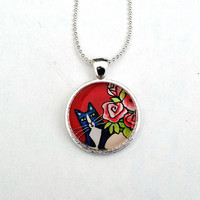 Tuxedo Cat Necklace with Red Roses/ Animal Art Jewelry by Susan Faye