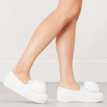 Furry Creeper Slip On in White and Nude