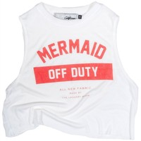 The Laundry Room Mermaid Off Duty Uniform Crop Muscle Tee in White
