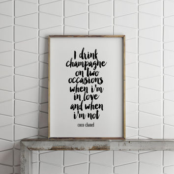 "Typography Print""COCO CHANEL""Chanel Print,Home Decor,Wall Decor,Apartment Decor,Fashion Decor,Fashion Wall Art,Inspirational Quote,Instant"