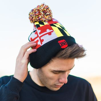 Full Maryland Flag (Black) / Knit Beanie Cap w/ Pom-Pom (Back-Ordered Until 3/31)