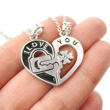 "2 PIece Heart Shaped Lock and Key ""I Love You"" Couple Necklace in Silver"