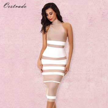 Ocstrade Vestido Midi Elegant High Quality Women Fashion Summer Nude&White Stripe Bodycon Bandage Dress Rayon Party Dresses
