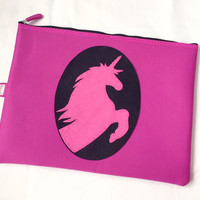 Fuchsia Unicorn Padded Zipper Pouch. Hot Pink Unicorn Ipad Pouch. Fairy Tale Zip Pouch Travel Pouch. Gift Under 30. Girls Gift