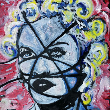 Oil Painting On Canvas Madonna Art by Matt Pecson Music Art 12x12 Contemporary Pop Art Painting Canvas Wall Art Home Decor Gifts for Her