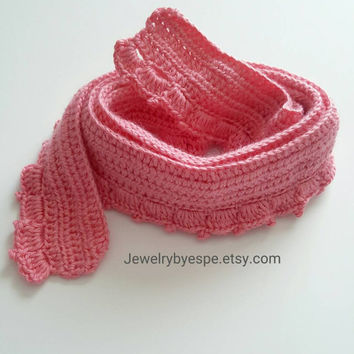 Pink Crochet Scarf, Coral Chunky Scarf Crochet, Hand Crocheted Scarfs, Neck Warm Accessories