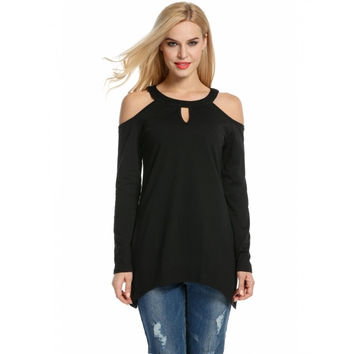 Women O-Neck Cold Shoulder Long Sleeve Solid Swing Blouse Tops