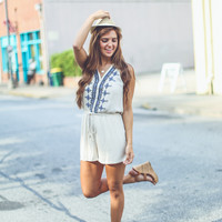 Classic Embroidered Romper in Taupe
