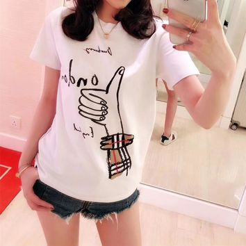 """Burberry"" Women Casual Fashion Personality Gesture Pattern Print Short Sleeve T-shirt Top Tee"