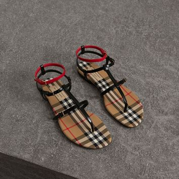 BURBERRY Vintage Check and Leather Sandals