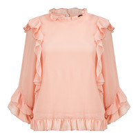 Pink Ruffle Trim Long Sleeve Chiffon Blouse