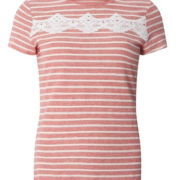 Pink Stripe T-Shirt With Trim | Dorothyperkins