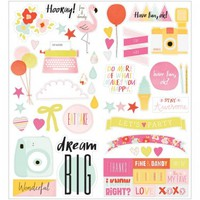 "American Crafts Dear Lizzy Fine & Dandy 6""x12"" Accent & Phrase Stickers 370091"