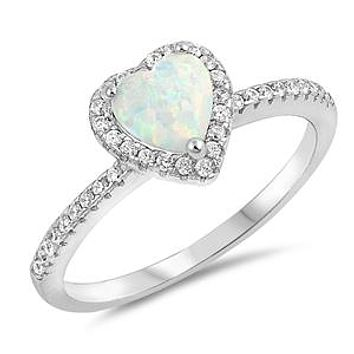 A Perfect 1.7CT Round Cut Australian White Opal Cabochon Halo Engagement Ring