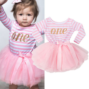 Summer Cute Newborn Dresses For Infant Ribbon Bow Pattern Long Sleeve Striped Dress Clothes 0 to 2 Years Christening Birthday