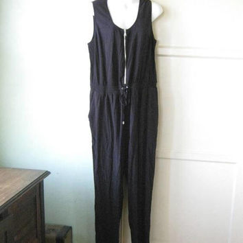 Casually Cute Black Romper; Women's Large Long Black Zip-Up Sleeveless Jumpsuit for Errands/Lounge/Beach; U.S. Shipping Included