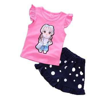 Girls Clothing Set Summer Baby Girls Tops Vest Shorts 2 PCS Clothes Suit Costume Kids Girls Outfits Children Clothing