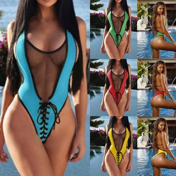 May Women Beach Mesh Bikini One Piece Swimsuit Push Up Bandage Swimwear Sheer Bikini Yellow Red High Waist Bathing Suit Women