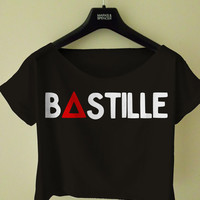 bastille band logo shirt black and white crop top t-shirt clothing