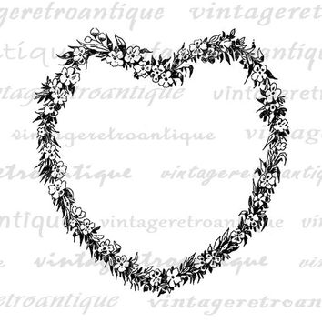 Digital Heart Shaped Flower Wreath Printable Image Love Romance Flower Garland Graphic Download Artwork Vintage Clip Art HQ 300dpi No.3704