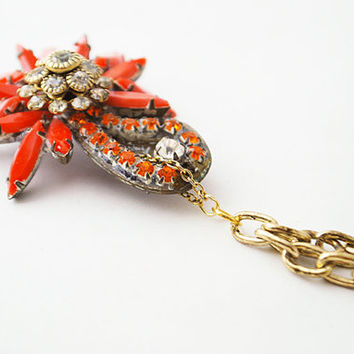 Vintage Cluster Boho Pendant Necklace - Coral Starburst Pendant, Red Flower Necklace, Paisley Jewelry