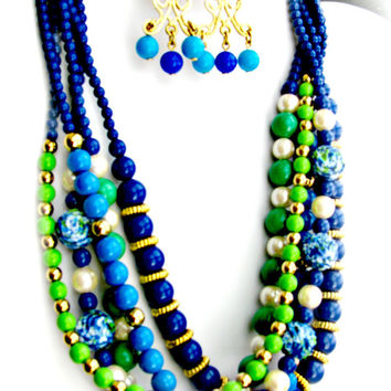 Multi-Strand Necklace, Glass Beads, Faux Pearls, Blues, Greens, Gold plus Bonus Earrings, Vintage Jewellery