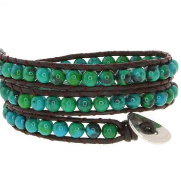 "14"" Blue/Green Beads on Dark Brown Leather Wrap Bracelet with Snap Button Lock"