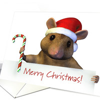 Mouse Holding a Candy Cane and Sign for Merry Christmas card