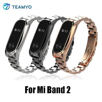 Teamyo Stainless steel metal strap For mi band 2 bracelet Replacement Smart Band Accessories For Xiaomi mi band 2 strap