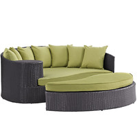 Tonga Outdoor Wicker Patio Daybed with Ottoman Espresso / Peridot