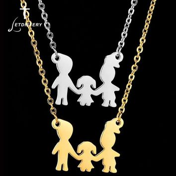 Letdiffery  Hot Sale Dad Mom Daughter Family Love Necklaces Stainless Steel Simple Necklace With Link Chain for Women Men Gifts