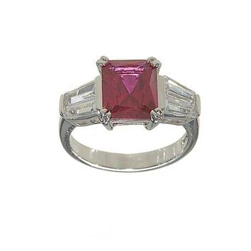 Emerald Cut Synthetic Ruby and Fancy Cut Cubic Zirconia Fashion Ring