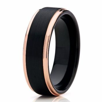 Men's Tungsten Carbide & Rose Gold Wedding Band