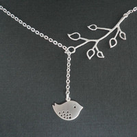 Silver Necklace -- Lariat Necklace -- Bud Branch with Bird -- Sparrow