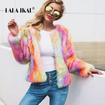 LALA IKAI Vintage Rainbow Colored Fur Coat Women Winter Long Sleeve Coat Faux Fur Lady Warm Colorful Fur Outwear Girl SWA1823 47