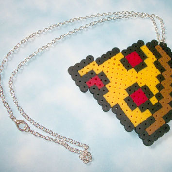 Cute Pizza Slice Perler Pixel Necklace