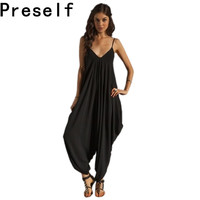 10 Color Women's Harem Romper Jumpsuit Coveralls Playsuit with Spaghetti Strap and Deep V-Neck Jumpsuits Plus Size