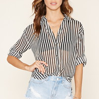 Striped Zip-Back Shirt