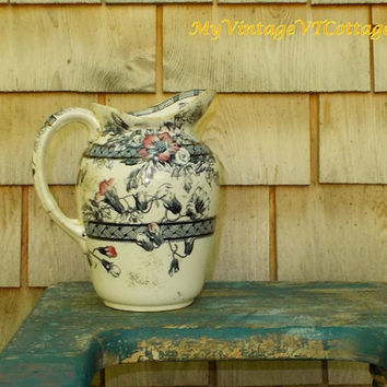 Vintage English Pottery Pitcher - Blue and Pink Floral - Cottage Charm
